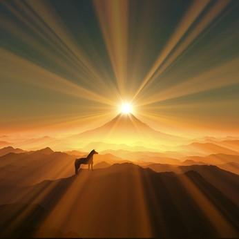 ヒーローズ-ジャーニー神話の法則-朝日と山頂に上る馬