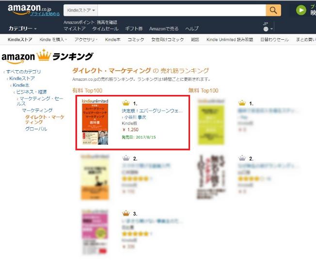 電子書籍-エバーグリーンウェビナーローンチの教科書-Amazonランキング-ダイレクト・マーケティング-部門-1位