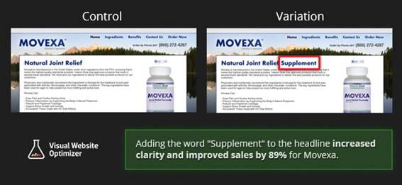 Movexaというサプリメント販売ページ
